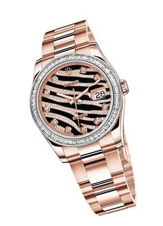 animal print rolex in rose gold