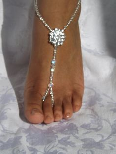 Beach Wedding Barefoot Sandals Rhinestone Foot Jewelry Anklet Destination wedding Bridal Accessories - https://www.facebook.com/different.solutions.page