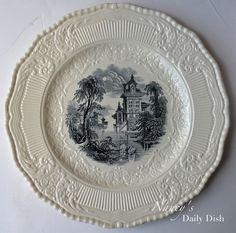 Royal Doulton Black #Transferware Cream Ware Scenic Plate Charger Wading Swans #nancysdailydish #creamware