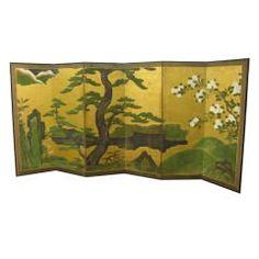 Antique Japanese Six Panel Screen