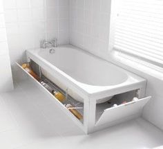 the Stowaway is a pull-down panel with chrome baskets allowing for tidy storage of toiletries or cleaning products.