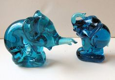 Vintage Pair of Turquoise Glass Elephant Figurines by oldsilkroute, $35.00