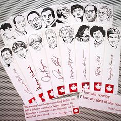 So here's my artistic contribution for Canada Day: Two sets of bookmarks featuring the portraits of some of the best Canadian poets of past and present. For the men's set I chose Robert Service Al Purdy EJ Pratt George Elliott Clarke Earle Birney Bliss Carman Dennis Lee Irving Layton. The women's set includes Carol Shields Anne Hébert Joy Kogawa Dionne Brand Pauline Johnson Rita Joe Elizabeth Smart Margaret Atwood. And I've added two mini bookmarks featuring quotes by Lucy Maud Montgomery… Dennis Lee, Elizabeth Smart, Man Set, Margaret Atwood, Canada Day, Bookmarks, The Man, Thats Not My, Portraits