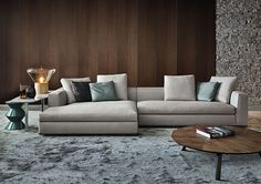 Contemporary sofa / fabric / by Rodolfo Dordoni / brown - POWELL - Minotti Living Room Sofa Design, Living Room Interior, Living Room Designs, Flur Design, Hall Design, Contemporary Sofa, Fabric Sofa, Modern Room, Sofa Furniture