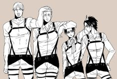 No idea what is happening anymore→→ONG I JUST NOTICED SINCE HANJI HAS NO ONE TO REST HER ARM ON SHE'S TOUCHING LEVI'S BUTT XD