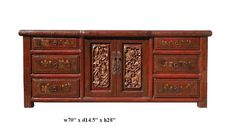 Chinese Rustic Red Lacquer Carving Kid Graphic Low Console - Golden Lotus Antiques