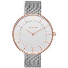 Skagen Silver Gitte Steel-Mesh Watch - Women's ($115) ❤ liked on Polyvore featuring jewelry, watches, silver, skagen watches, polish silver jewelry, steel jewelry, dot jewelry and polka dot jewelry