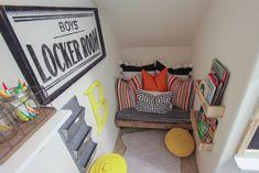 Small Kids Playroom Design Ideas Under Stairs - TopDesignIdeas Reading Nook Closet, Closet Nook, Playroom Closet, Reading Nook Kids, Kid Closet, Kid Playroom, Playroom Ideas, Closet Fort For Kids, Nursery Reading