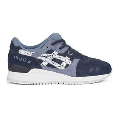 Asics Gel-Lyte III 'Granite Pack' Trainers - Indian Ink/White ($86) ❤ liked on Polyvore featuring shoes, sneakers, blue, white sneakers, asics sneakers, white shoes, asics trainers and white leather shoes