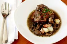 Coq au Vin- Chicken in Red Wine with Onions, Mushrooms and Bacon (Via Gratinee)