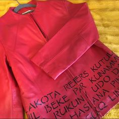 """World peace leather jacket One-of-a-kind red leather jacket with the word """"peace"""" in different languages from around the world. Definitely a conversation starter! Yvonne Marie Jackets & Coats"""