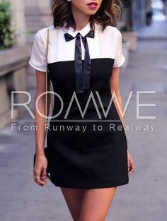 Black White Short Sleeve Color Block Dress