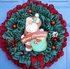 A personal favorite from my Etsy shop https://www.etsy.com/listing/555694056/christmas-wreath-front-door-burlap