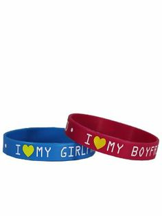 I Love My GF and BF Wristbands - 2 Pack