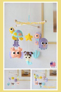 Mermaid Mobile, Baby Girl Mobile, Baby Crib Mobile, Nursery Mobile, Handmade Felt Mobile, Aqua Coral Purple Sunflower, Under the sea theme