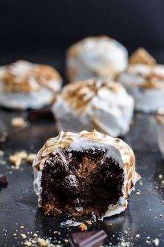 Meringue Encased Chocolate Mousse S'more Cakes   halfbakedharvest.com