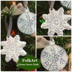 Learn how to Create a Vintage Styled Snowflake Ornament using FolkArt Home Decor Chalk