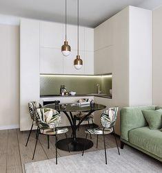 Modern apartment in Moscow - Dezign Ark (Beta) Kitchen Room Design, Modern Kitchen Design, Home Room Design, Home Decor Kitchen, Living Room Designs, Kitchen Interior, Condo Interior Design, Flat Interior, Interior Modern