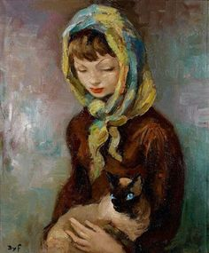 Jeune fille au chat siamois, Marcel Dyf. French (1899 - 1985)
