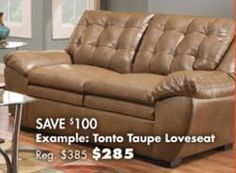 Tonto Taupe Loveseat from Big Lots $285.00 (SAVE $100)