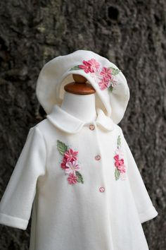 d5aa1e0334bf Items similar to Ivory and pink apple blossom baby coat on Etsy