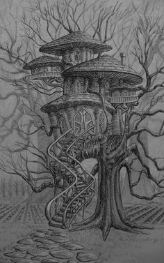 The mushroom tree house of Kitchen Witches Mundane Bergamot and her Aunt Dovie P. The mushroom tree house of Kitchen Witches Mundane Bergamot and her Aunt Dovie P… – Tree House Drawing, Castle Drawing, Tree Sketches, Art Drawings Sketches, Tree Drawings, Drawing Art, Art And Illustration, Art Illustrations, Fantasy Kunst