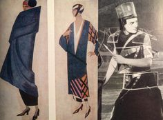 1. Sketches by Alexandra Exter. 1920 e. 2. The Shot from the film «Aelita». The suit by A. Ekster.1929