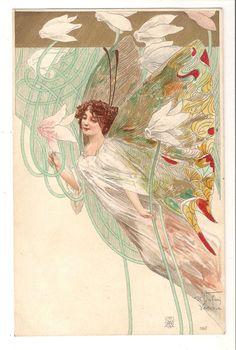 R. JAFURI, ART NOUVEAU POSTCARD. No 190. FAIRIES. EARLY UNDIVIDED BACK