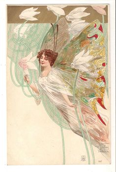 R. JAFURI, ART NOUVEAU POSTCARD. No 190. FAIRIES. EARLY UNDIVIDED BACK
