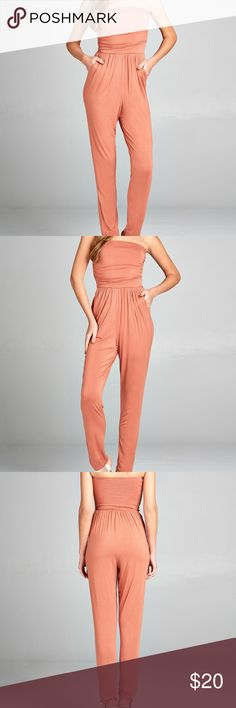 Tube Top Jumpsuit with Pockets - Apricot (Coral) NEW ARRIVAL!!! Tube Top Jumpsuit with Pockets. 95% RAYON 5% SPANDEX. Strapless tube top w/front slanted pockets jumpsuit.  Great for casual wear, music festivals or accessorize and dress up for a night on the town. BLACKASHMERE Pants Jumpsuits & Rompers