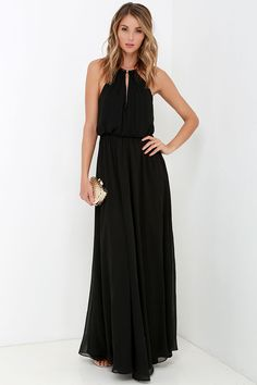 What a Night Black Maxi Dress at Lulus.com!
