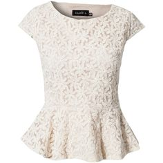 Club L Flower Lace Peplum Top ($28) ❤ liked on Polyvore featuring tops, blouses, shirts, blusas, cream, tall shirts, lace peplum top, white blouse, white peplum top and flower blouse