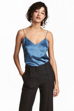 Silkkinen naruolkaintoppi - Sininen - NAISET | H&M FI
