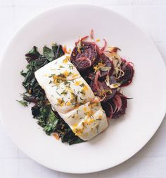 // Halibut with Roasted Beets, Beet Greens, and Dill-Orange Gremolata