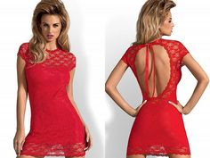 Robe sexy babydoll rouge dentelle dos nu courte OBSESSIVE + string
