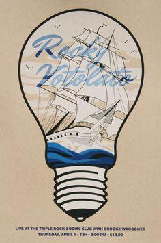 Rocky Votolato + Brooke Waggoner concert poster, Attention Deficit Design