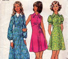 70s Vintage sewing pattern  Simplicity 5554 Baby Doll shirt Dress Size 10 Bust 32 1/2. $7.50, via Etsy.