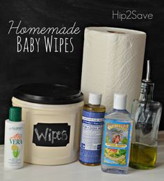 Homemade Baby Wipes Recipe - 1-1/2 cup water, 1T olive oil, 1 T aloe, 2 T witch hazel, 1T baby or Castile soap (but not peppermint!)
