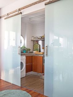 Decor Units: 40 Inspiring Minimalist Slide Partition Door Wall to Separate Small Spaces Decor, Home, Laundry Room Design, Farm House Living Room, House Design, Living Room Designs, Partition Door, Doors Interior, Home Deco
