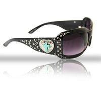 Turquoise Cross Heart Sunglasses