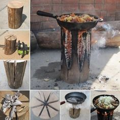 Make a Quick Stove from Just a Single Log - http://www.amazinginteriordesign.com/make-a-quick-stove-from-just-a-single-log/