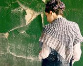 wraps shawls - chunky shawl - knit shawl - neck warmer - wool shawl - women shawl - christmas gift - grey shawl