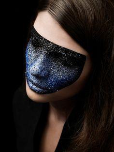 Dark blue black ombre glitter fantasy make up Makeup Art, Beauty Makeup, Hair Makeup, Hair Beauty, Fun Makeup, Facial, Fantasy Makeup, Creative Makeup, Costume Makeup