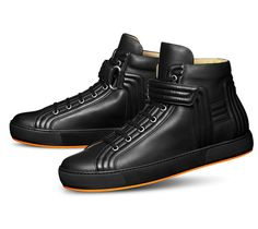 """Lions Hermes men's sneaker in calfskin with Sport rubber sole and orange """"H relief"""" print, leather lining"""