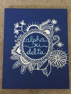 Alpha Xi Delta painted canvas