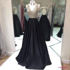 Prom Dress,Long Black Prom Dress,Long Beaded Prom Dress,Prom Dress for Teens,V neck Prom Dress,A-line Prom Dresses PD20189591