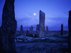 Callanish Stones, Isle of Lewis, Scotland. The Callanish Stones are situated near the village of Callanish on the west coast of Lewis in the Outer Hebrides (Western Isles of Scotland). Construction of the site took place between 2900 and 2600 BC, though there were possibly earlier buildings before 3000 BC.