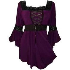 Womens Plus Size Square Neck Flare Sleeve Lace Up Blouse Purple ($10) ❤ liked on Polyvore featuring tops, blouses, purple, laced tops, plus size bell sleeve tops, square neck top, lace up front top and purple blouse