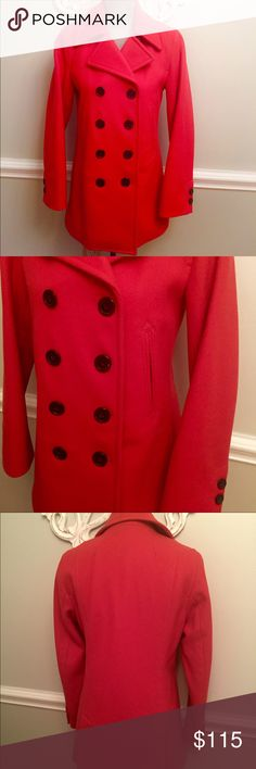J Crew Orange Coral Winter Wool Pea Coat S Gorgeous winter wool coat by J Crew in a stunning coral/orange.  Size: small.  Made of 80% wool/20% nylon.  The inside is lined in a tan quilted fabric.  Has front pockets.  Double breasted. J. Crew Jackets & Coats Pea Coats