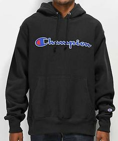 Keep your gear in check and have your looks on trend with Champion's newest Reverse Weave Chain Stitch Black Hoodie. This thick constructed pullover provides a warm fleece lined interior, elastic ribbed side panels and signature logo graphics stitched upo Black Champion Hoodie, Champion Wear, Champion Brand, Champion Pullover, Champion Clothing, 21st Birthday Outfits, Cute Lazy Outfits, Chain Stitch, Mens Sweatshirts